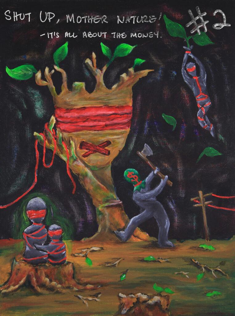 """""""Terikatnya orang asli yang hanya mampu 'melihat' tanah dicabuli oleh peneroka"""".  Aktiviti pembalakan memberi kesan yang cukup besar kepada orang asli, haiwan dan alam sekitar. Apa kisah? Asalkan duit masuk poket. Butakan mata, bisukan mulut. Rasuah dan penyalahgunaan kuasa makin berleluasa. Sejauh mana hutan-hutan kita terus dieksploitasi oleh lanun-lanun rimba yang berpakaian suit?"""