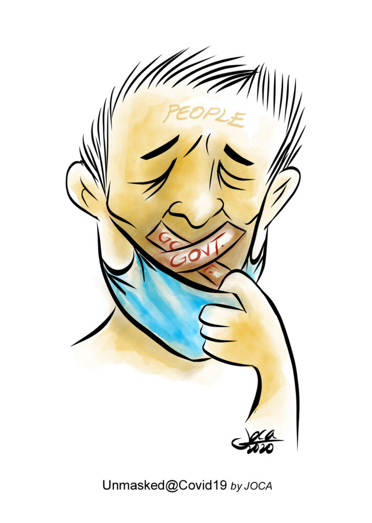 The cartoon indicated a distressed face with the face mask unveiled showing duct taped mouth. This is a depiction of self-censorship and fear to avoid harassment by the Govt. Example: The AG cited Mkini readers' comment section with contempt & Police questioned an activist over a Facebook posting on alleged mistreatment of refugees at the immigration detention centres and many others. Look like freedom of speech and independent media in a democracy country like Malaysia is an elusive dream indeed.