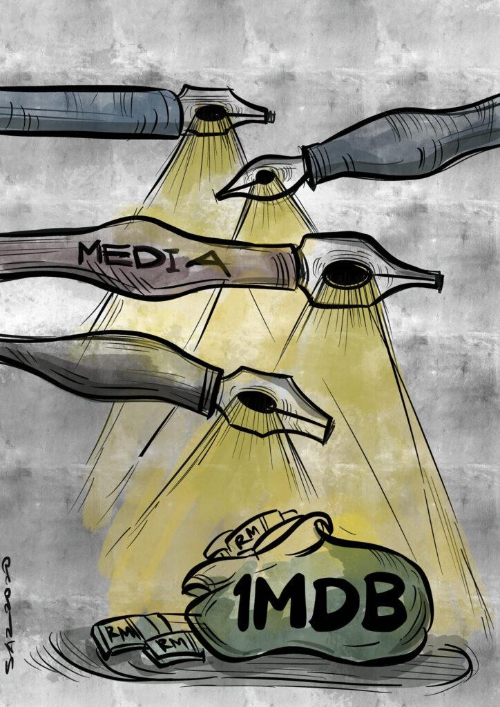 Portal berita dan media seperti Sarawak Report, The Sunday Times dan Wall Street Journal bertanggungjawab dengan bersungguh-sungguh membuat liputan dan menyoroti skandal 1MDB, penyalahgunaan dana awam yang melibatkan RM 2.67 bilion (kira-kira AS $ 700 juta) dari 1Malaysia Development Berhad (1MDB), sebuah syarikat pembangunan strategik yang dikendalikan oleh kerajaan yang mencetuskan kritikan global yang meluas, yang membawa kepada keyakinan Najib Abdul Razak, bekas perdana menteri Malaysia baru-baru ini.