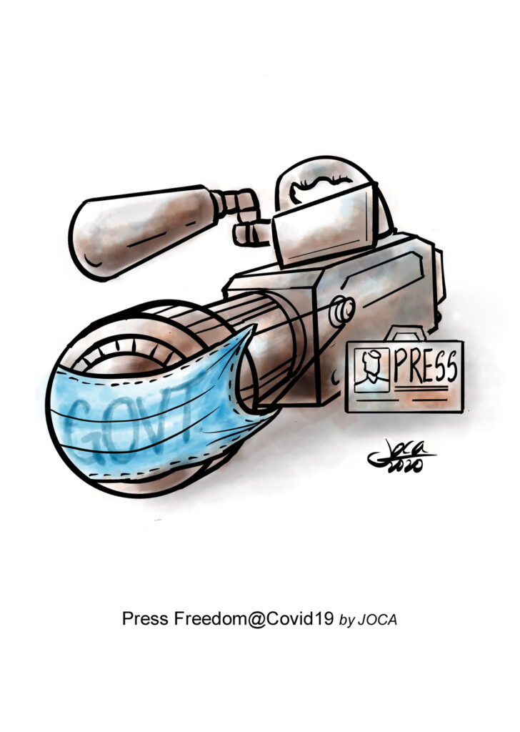 The cartoon showed a face mask (Govt) over the journalist's camera lens. This is a depiction of Press neutrality is seriously compromised and investigative news especially criticism against the Govt is not encouraged in Malaysia. The most recent target of the government's ire is Al Jazeera, which produced a video segment discussing Malaysia's treatment of migrant workers during the Covid-19 pandemic.