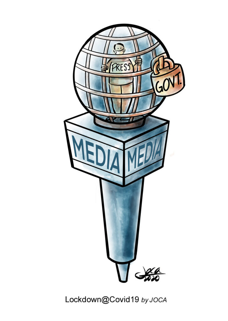 """The cartoon showed a locked-up microphone which is a depiction of Press restriction on reporting.  It's very hard for media to report abuses by Ministers, wastages and injustice during the pandemic period in Malaysia with the constant harassment by the authorities be it on the refugees, migrant workers or the marginalised orang Asli and ordinary people etc.  The double standard by the Govt with regard to the implementation of the Covid 19 can be seen with the statement by Senior Minister (Security Cluster) Datuk Seri Ismail Sabri Yaakob's warning that stern action will be taken against the media for """"confusing and inaccurate"""" articles regarding government statements. The government's interpretation of fake news is, nevertheless, a concern, that is, if criticism against ministers and the government is classified as fake news."""