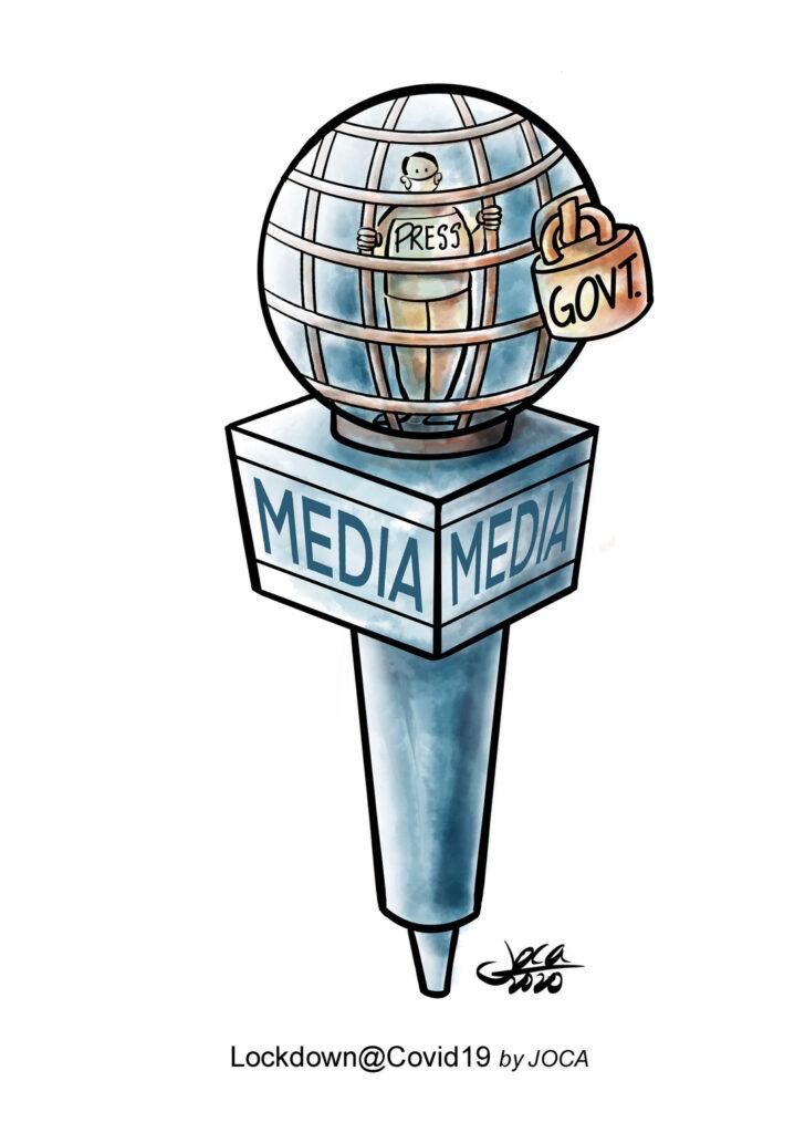 """Sukar bagi media untuk melaporkan penyalahgunaan Menteri, pembaziran dan ketidakadilan dalam tempoh pandemi di Malaysia dengan gangguan berterusan oleh pihak berkuasa sama ada ke atas pelarian, pekerja migran atau orang Asli yang dipinggirkan dan orang biasa dll. Standard dua kali ganda oleh Pemerintah berkenaan dengan pelaksanaan Covid 19 dapat dilihat dengan pernyataan Menteri Kanan (bahawa amaran akan diambil terhadap media kerana artikel """"mengelirukan dan tidak tepat"""" mengenai kenyataan kerajaan. Tafsiran pemerintah terhadap berita palsu adalah, bagaimanapun, menjadi perhatian, iaitu jika kritikan terhadap menteri dan pemerintah diklasifikasikan sebagai berita palsu."""